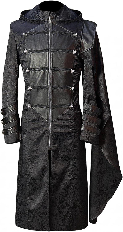 SUIQU Men's Hooded Trench Coat Halloween Retro Gothic Style Long Windbreaker Jacket Fashion Long Sleeve Tuxedo Jacket
