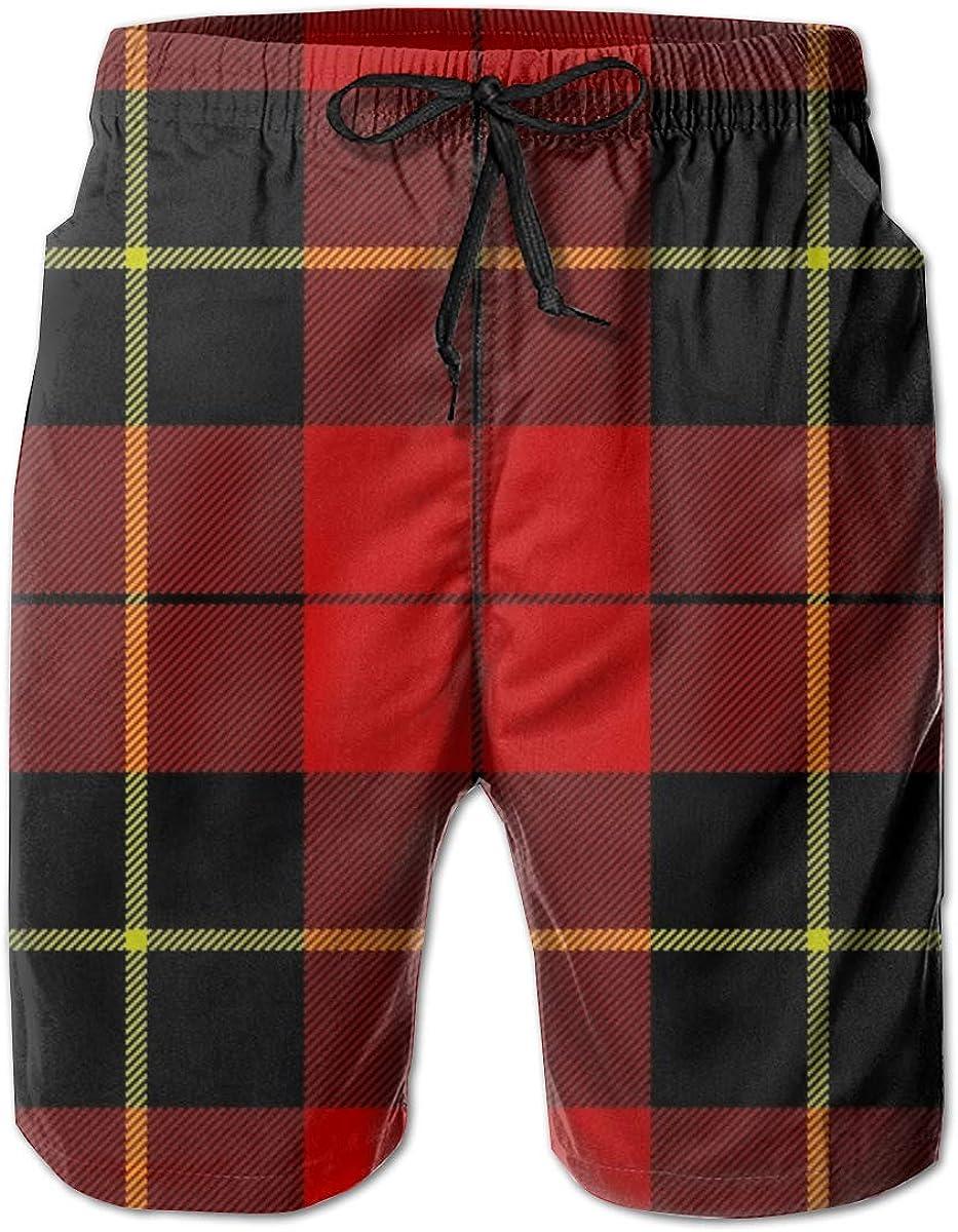 Wallace Clan Red Tartan Mens Beach Pants 3D Printed Casual Fashion Adjustable Beach Board Shorts XX-Large