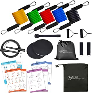 11 PC Resistance Tube Band Set with Door Anchor, Ankle Straps, Handles, 5 PC Resistance Tubes for Home Gym Physical Traini...