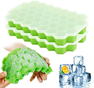 Ice Cube Trays with Lids, 2-Pack Ice Cubes Food Grade Full Silicone Silica Gel Flexible BPA Free 37 Honeycomb Ice Cube Mol...