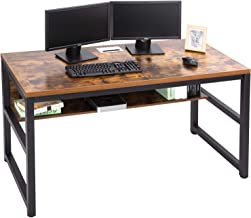 """TOPSKY 55"""" Computer Desk with Bookshelf/Metal Desk Grommet Hole Cable Cover (Industrial/Rustic Brown)"""