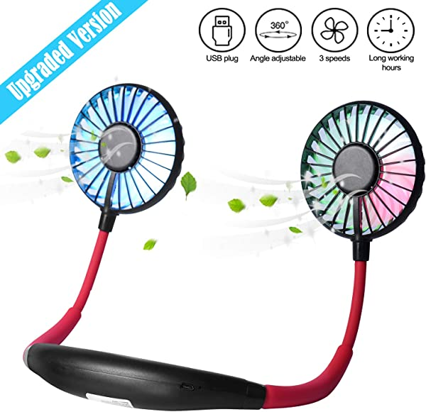 Upgraded Version Portable Neck Fan Color Changing LED With Aromatherapy 360 Free Rotation And Lower Noise Strong Airflow Headphone Design For Sport Office Home Outdoor Travel Etc