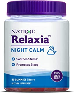 Natrol Relaxia Night Calm Daily Stress Relief Gummies, Berry Flavor, 50 Gummies