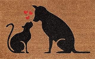Cranberry Mats Designer Natural Coir Non Slip Doormat for Patio, Front Door, All Weather Exterior Doors 18 X 30 Inch Animal Cat Dog Love Heart