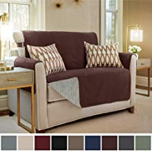 Gorilla Grip Original Slip Resistant Loveseat Protector for Seat Width up to 54 Inch, Patent Pending Suede-Like Furniture Slipcover, 2 Inch Straps, Couch Slip Cover Throw for Dogs, Love Seat, Coffee