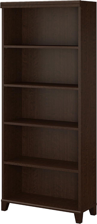 Bush Furniture WL21865 Tuxedo 5 Shelf Bookcase in Mocha Cherry