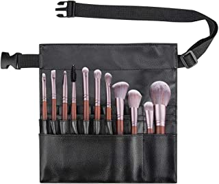 BestFire Professional Makeup Brush Bag Case 22 Pockets Portable Cosmetic Brush Holder Organizer with Artist Belt Strap PU Leather (Brushes Not Included)