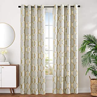 jinchan Linen Textured Curtains Moroccan Tile Printed Curtain Panels Room Darkening Bedroom Living Room Thermal Insulated Window Treatment Drapes 2 Panels 84