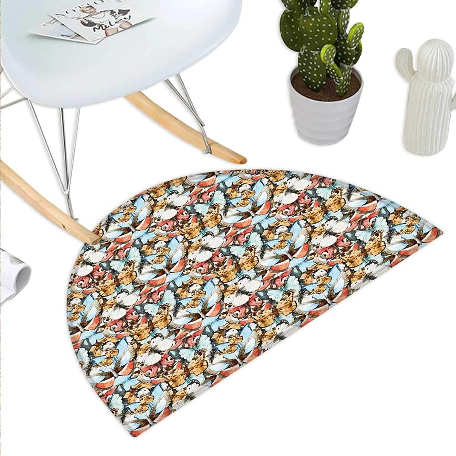 Butterfly Semicircle Doormat Watercolor Butterflies in Various Shapes and Sizes Abstract Fauna Elements Animal Halfmoon doormats H 39.3  xD 59  Multicolor