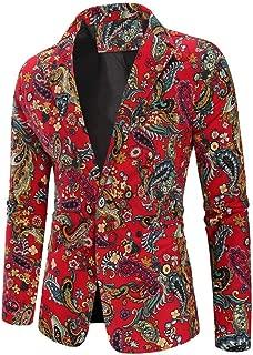 Blazer Mens Vintage Ethnic Printed Dress Floral Suit Slim Fit Blazer Jacket Black Sweater
