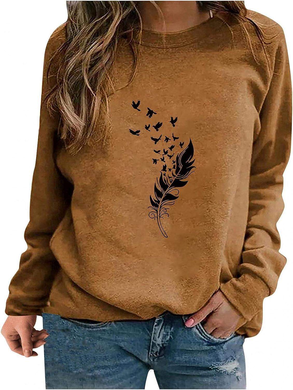 FABIURT Womens Tops,Women Lightweight Long Sleeve O Neck Vintage Print Casual Loose Tunic Sweater Pullover Sweatshirt