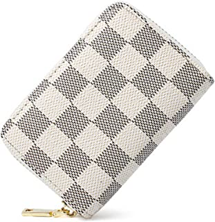 Classical Lattice Small Leather RFID Blocking Credit Card Holder with 11 Organ-style Card Slots Card Wallet
