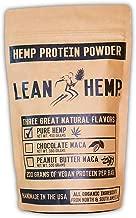 Pure Hemp Protein Powder by Lean Hemp – Organic, Vegan, Hi-Fiber – 50% Protein