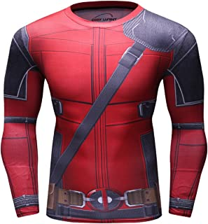 Red Plume Men's Compression Sports Shirt Cool Lightning/Flash Running Long Sleeve Tee/3 Colors