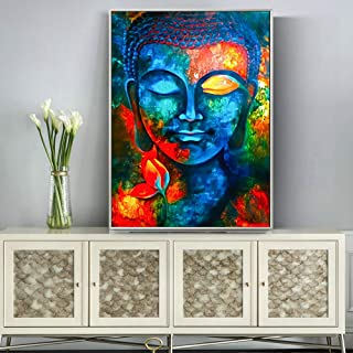 Fincico Abstracto Buda Lienzo Pinturas en la Pared Colorido Budismo Carteles e Impresiones Cuadros Modernos para Sala de Estar 70x100cm