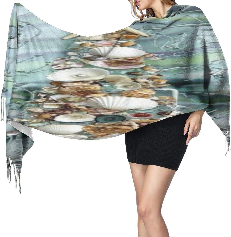 Cashmere fringed scarf seashell tree winter extra large scarf