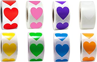 Heart Stickers for Color Coding Tags Colored Labels Collection 500/Roll - 1 inch (Yellow)