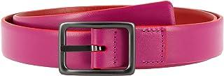 DUDU Cintura da Donna in Vera Pelle Made in Italy Bicolore Accorciabile H 24mm con Fibbia in Metallo Fucsia da 95 cm