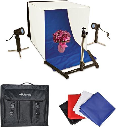 discount Polaroid wholesale Photo Studio Light Tent Kit, Includes 1 Tent, 2 Lights, sale 1 Tripod Stand, 1 Carrying Case, 4 Backdrops (Black, Blue, White, Red) online sale