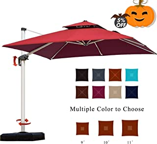 PURPLE LEAF 10 Feet Double Top Deluxe Square Patio Umbrella Offset Hanging Umbrella Cantilever Umbrella Outdoor Market Umbrella Garden Umbrella, Terra