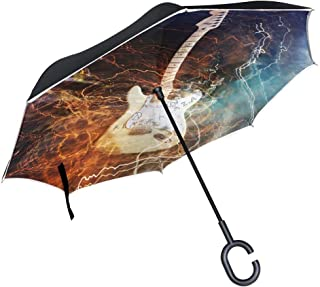 Ladninag Cute Sloth Sitting on Tree Inverted Umbrella, Large Double Layer Outdoor Rain Sun Car Reversible Umbrella