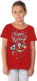Girls T-Shirt Minnie & Mickey Mouse Glitter Christmas Holiday Print