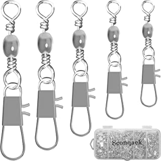 Sconqaek 210PCS Fishing Accessories Swivels with Snaps, Saltwater Fishing Tackle Set, High Strenghth Stainless Steel Fishi...
