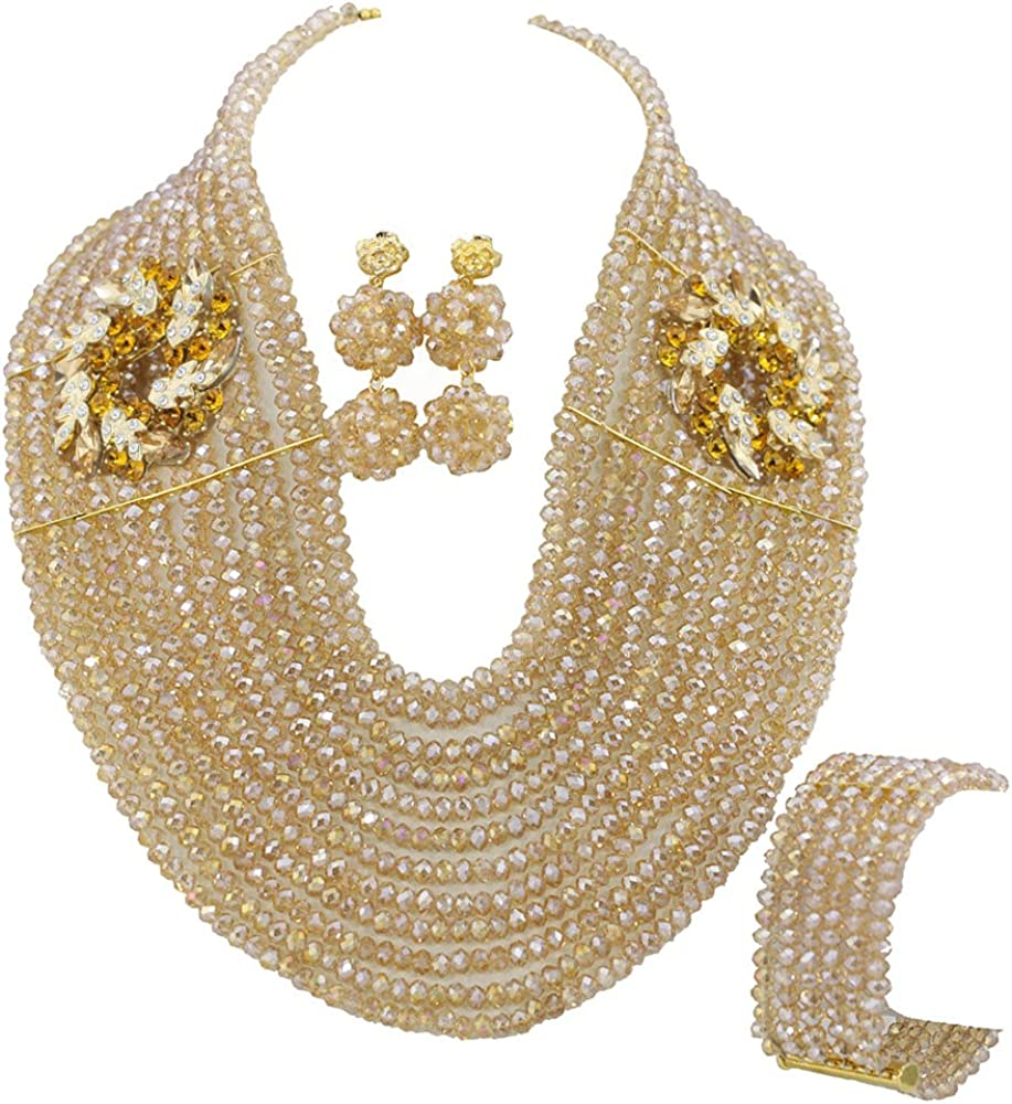Africanbeads Champagne 12 Rows African Set Phoenix Mall Nigeria Regular discount Beads Jewelry
