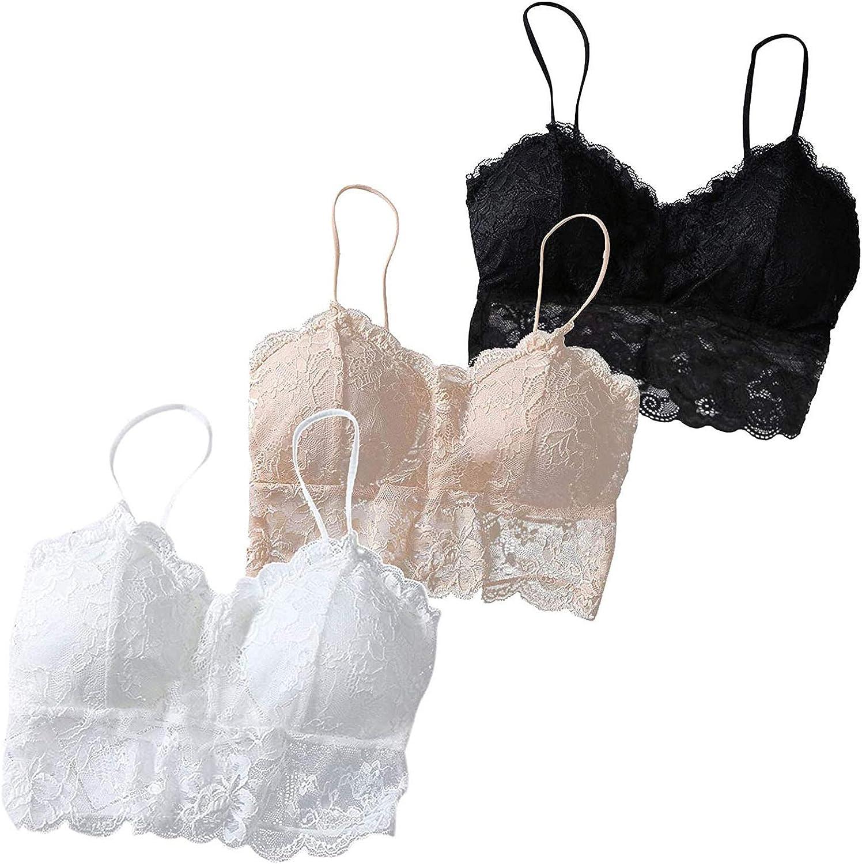 ZAKIO Lingerie for Women, Women's 3pcs Underwear Set Floral Lace Trim Cami Tank Top Lingerie Padded Lace-up Camisole