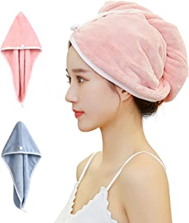 GEDUORIE Hair Drying Towel Set 2 Pack,Soft Water Absorbent Hair Towel Wrap Turban Microfiber Bath Towel with Button,Dry Ha...