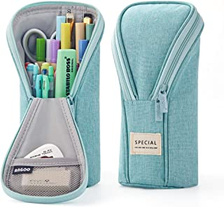 ANGOOBABY Standing Pencil Case Pencil Pouch Bag for Teen Girl Boy Student (Light Green)