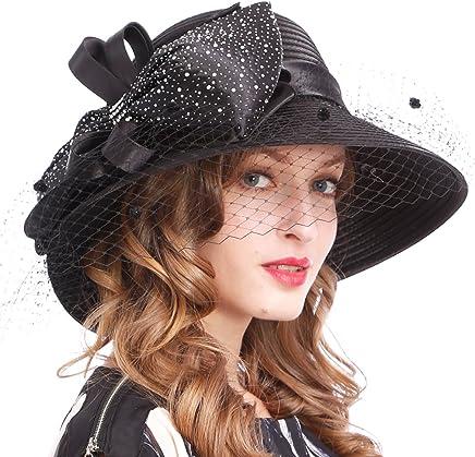 VECRY Kentucky Derby Dress Church Cloche Hat Sweet Cute Floral Bucket Hat (Veil-Black)
