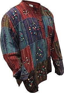Shopoholic Moda Deslavado Camisa De Rayas Con Patchwork,Colorido,hippie