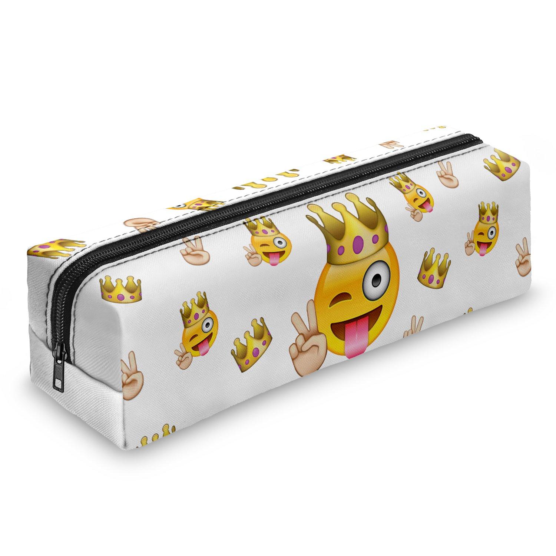 Estuche cuadrado con estampado de emoticonos, estuche holográfico de viaje, con cremallera, color Emoji King: Amazon.es: Oficina y papelería