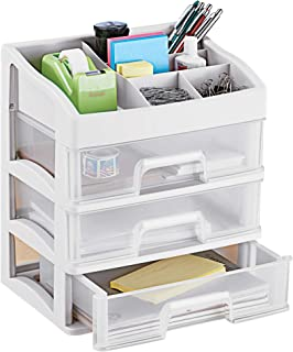 $24 » Tabletop 3 Drawer Organizer and Compartment Storage - Perfect for Bathroom, Office, Etc - 3 Drawer Front, 5 Compartment Top - Great for Cosmetics, Hair Accessories, Craft, Office Supplies