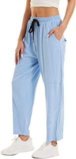 MAGCOMSEN Women's Lounge High Waisted Pajama Linen Pants Solid Yoga Pants Sleepwear