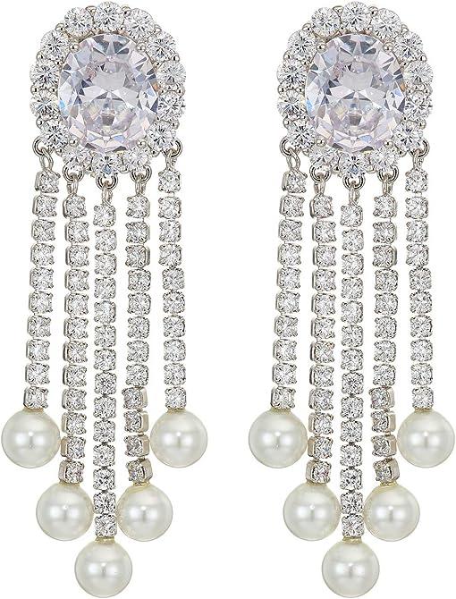 Rhodium/White CZ/White Glass Pearl