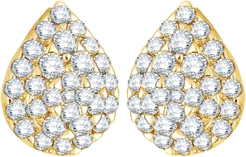Wei, Tropfen-Ohrringe 14Karat 585WeiGold Diamant (1Karat Gesamtgewicht)