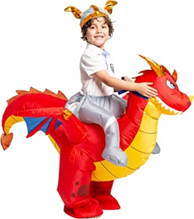 Inflatable Costume Dragon Riding a Fire Dragon Air Blow-up Deluxe Halloween Costume - Child