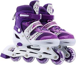 اسکیت های خطی قابل تنظیم کودکان Szulight ، اولین اسکیت مناسب برای دختران و پسران با تمام چرخ های روشن کننده ، کودکان داخل سالن جوانان
