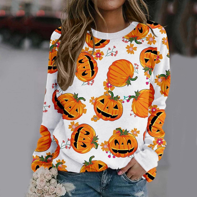 AODONG Halloween Sweaters for Women Bat Pumpkin Graphics Sweatshirt Long Sleeves Pullover Tops Shirts