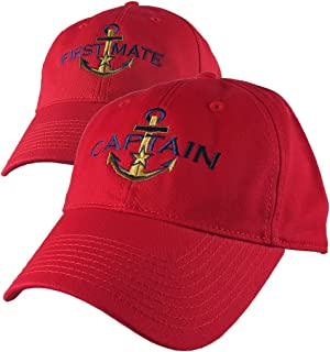 c228c84e Nautical Star Anchor Captain and First Mate Embroidery 2 Adjustable Vibrant  Red Unstructured Baseball Caps +