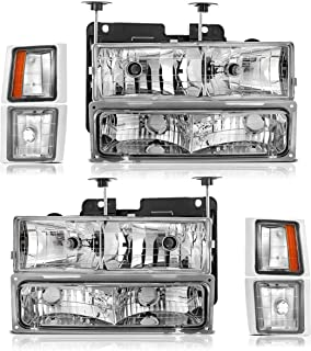 Partsam Headlight Assembly Replacement for Chevrolet and GMC 1994 1995 1996 1997 1998 C/K1500 C/K2500 C/K3500 Tahoe Suburban Silverado Pickup Driver and Passenger Side Chrome Housing Amber Reflector