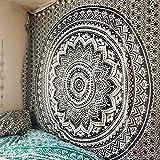 QCWN - Arazzo in stile indiano/bohémien/hippy, decorato con mandala, multiuso, decorativo, da appendere alla parete, Poliestere, Nero , 59x59