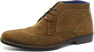Milton Tan Mens Brogue Ankle Boots, Size
