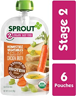 Sprout Organic Stage 2 Baby Food Homestyle Vegetables & Pear w/ Chicken Bone Broth, 3.5 Ounce (Pack of 6)
