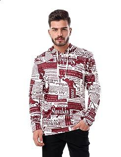 Off Cliff Patterned Kangaroo Pocket Long Sleeves Hoodie for Men