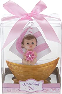 Mega Favors 12 pcs Party Keepsake Baby Sitting in a Pink Sail Boat, Awesome Party Favors for Baby Shower Announcement Parties, Boys or Girls Party & Other Themed Events