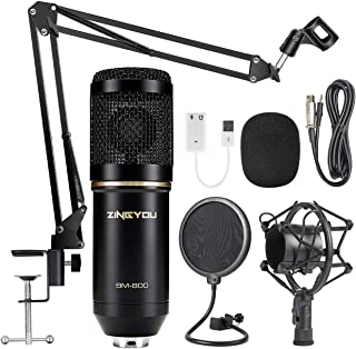 ZINGYOU Condenser Microphone Bundle, BM-800 Mic Set for Studio Recording & Brocasting (Microphone Kit (Black))