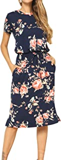 Simier Fariry Women's Floral Short Sleeve Casual Pockets...